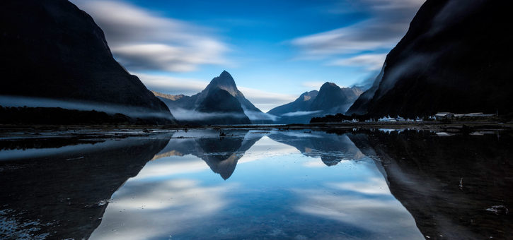 Sunrise at Milford Sound with Reflection of Mitre Peak